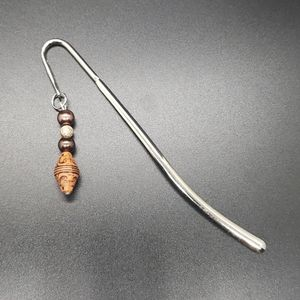 Silver Bookmark with Wood & Brown Beading